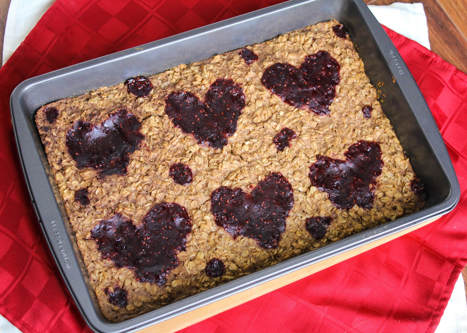 Peanut butter and jelly baked oatmeal for Valentine's Day