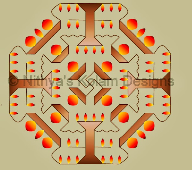 Deepam kolam with dots 20 to 8