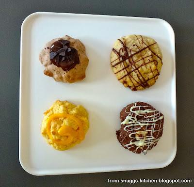 Amerik. Walnusskekse, heller Schokoladen-Cookie, Ananas-Maracuja-Kekse, dunkler Schokoladen-Cooki