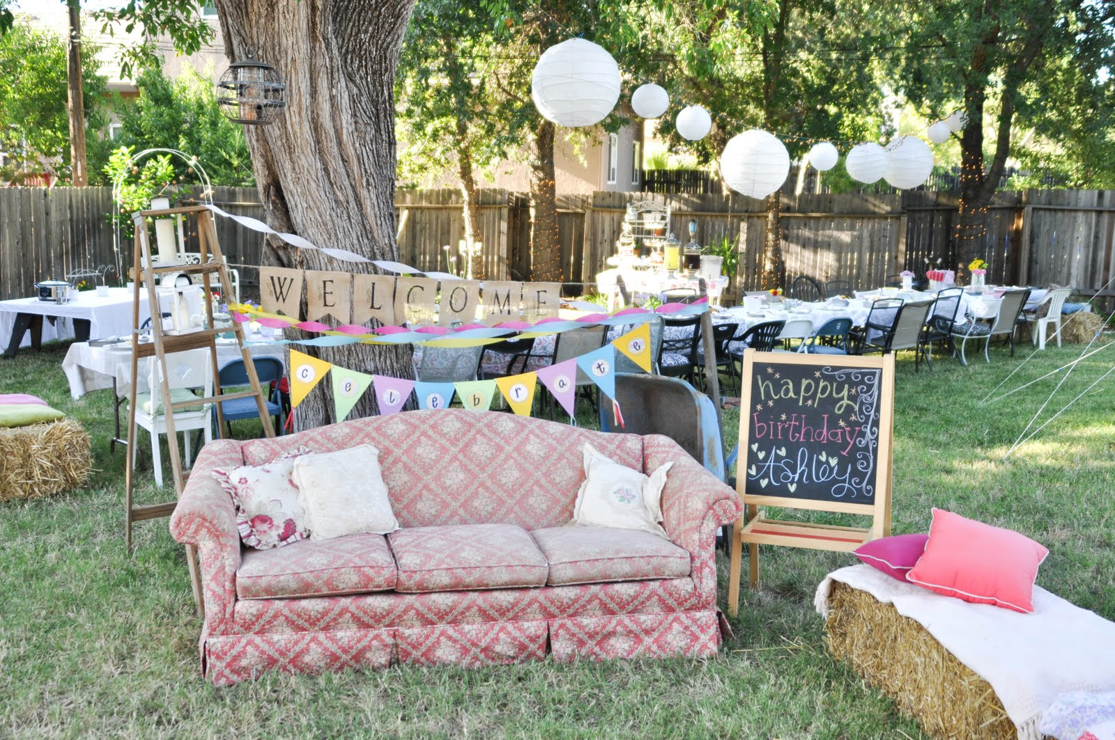 Domestic fashionista country backyard birthday party for Backyard party decoration ideas for adults
