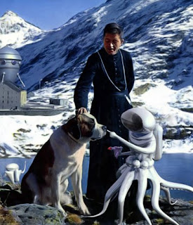 """detail from Franco Brambilla's """"Aliens and Priest"""" http://francobrambilla.com/artwork/335264_Aliens_And_Priest.html"""