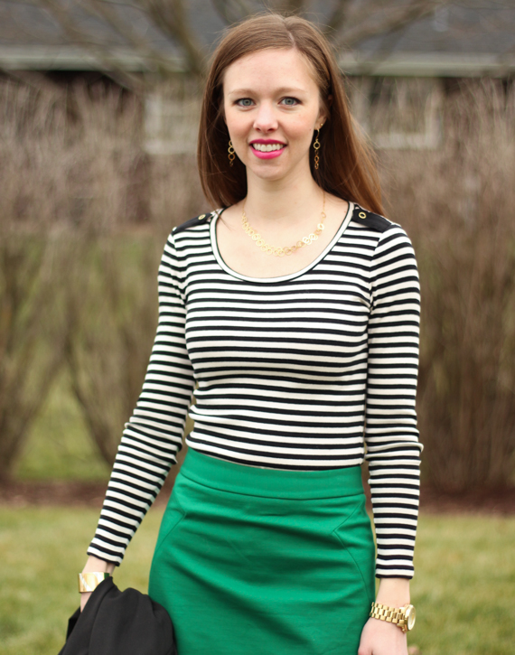 Green Skirt, Black & Cream Striped Long Sleeved T | StyleSidebar