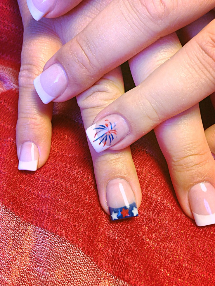 4th Of July Nail Ideas 4th Of July Fireworks And Stars Manicure