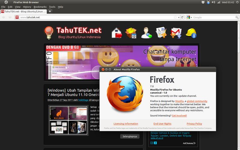 Mozilla Firefox 7 di Ubuntu 11.04 Natty Narwhal
