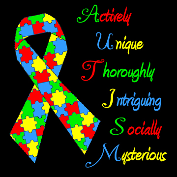 Autism Puzzle Ribbon Meme Primary Colors -  Actively Unique Thoroughly Intriguing Socially Mysterious