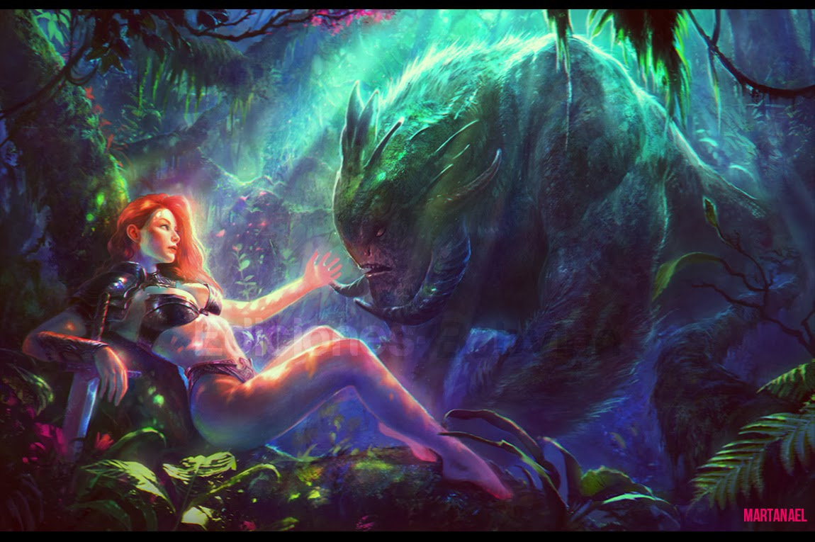 Resting Warrior and the Forest Monster