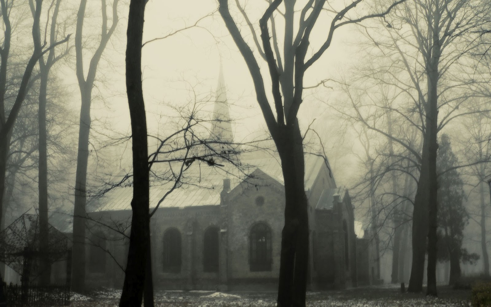 Wallpaper a day church in the trees dark creepy wallpaper