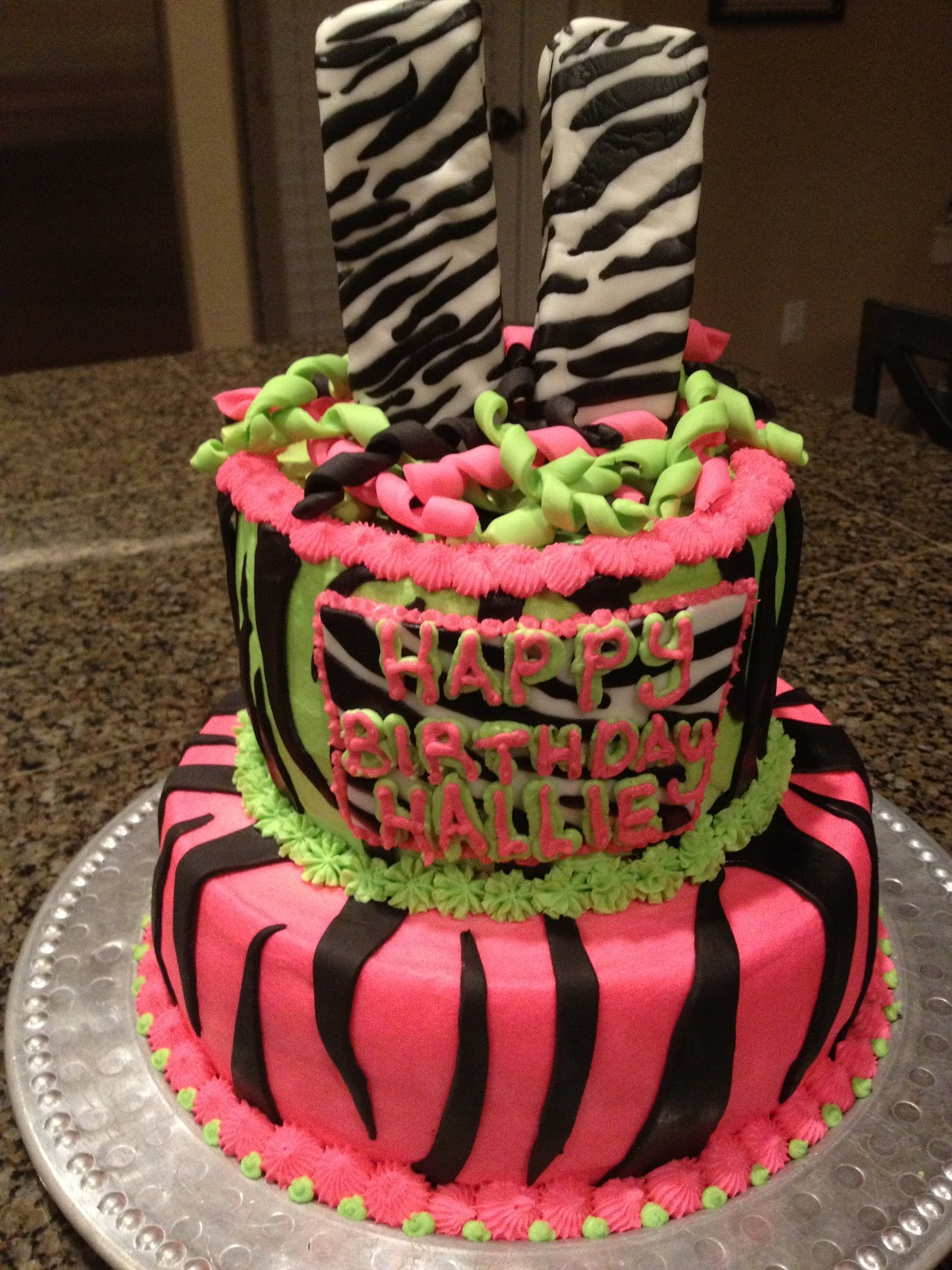 Cats Cake Creations: BRIGHT Pink and Green Zebra Birthday Cake
