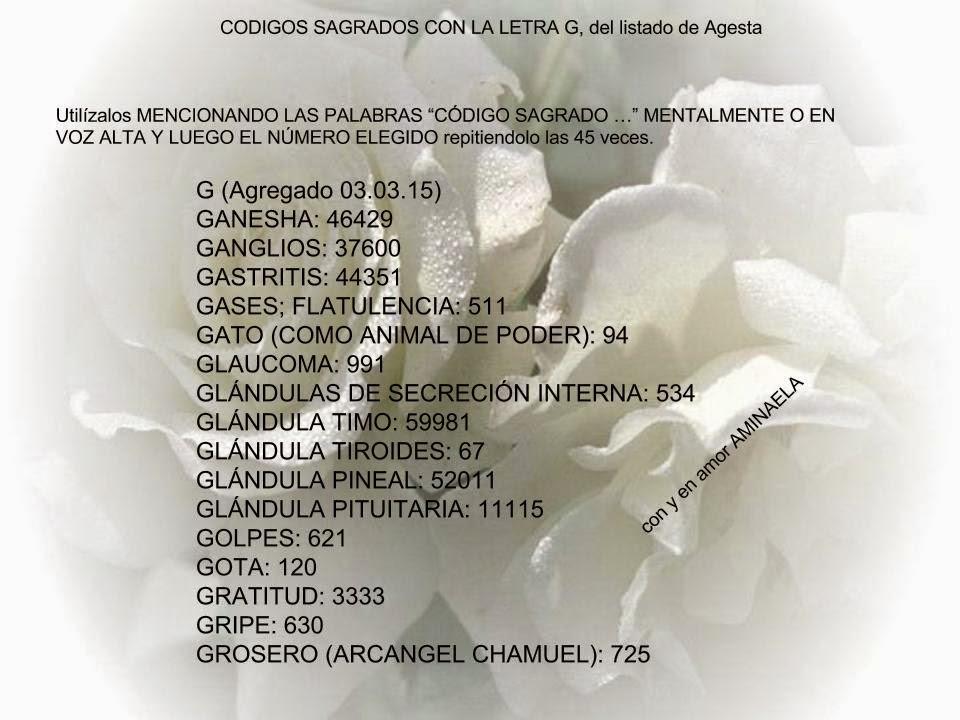 AMINAELA: CODIGOS SAGRADOS, LETRA G del listado de Agesta