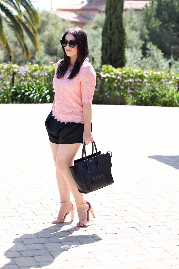 karen-walker-northern-lights-sunglasses-pink-lace-top-piperlime-nars-chihuahua-lipgloss-king-and-kind-spring-makeup-tildon-shorts-celine-bag-zara-nude-heels