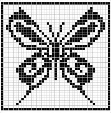 Fashion y f cil una bolsa y una mariposa en filet - Esquema punto estrella crochet ...