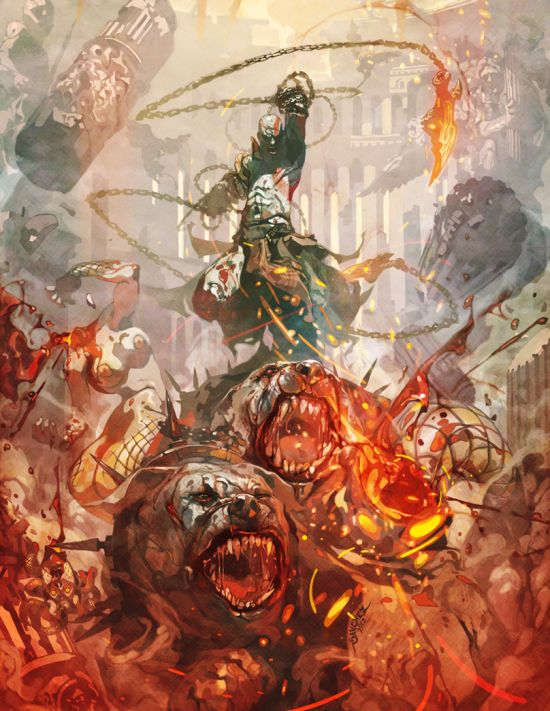 Reynan Sanchez ilustrações fantasia games Kratos o deus da destruição
