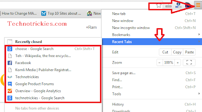 how to find recently closed tabs chrome