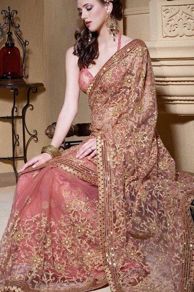 sari indien rose