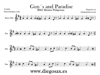 Partitura de Gangsta´s Paradise para Saxofón Alto y Barítono Coolio principal music Score Alto and Baritone Saxophone Sheet Music Gangst´s Paradise (sirve para Trompa)