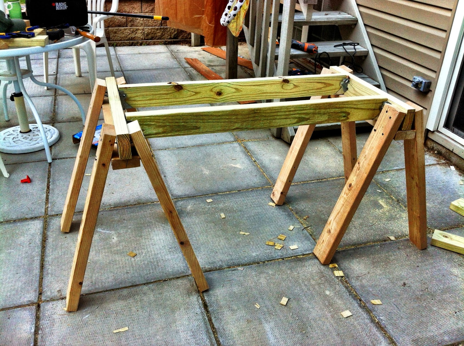 Here Is The Frame Of The Sawhorse Table.