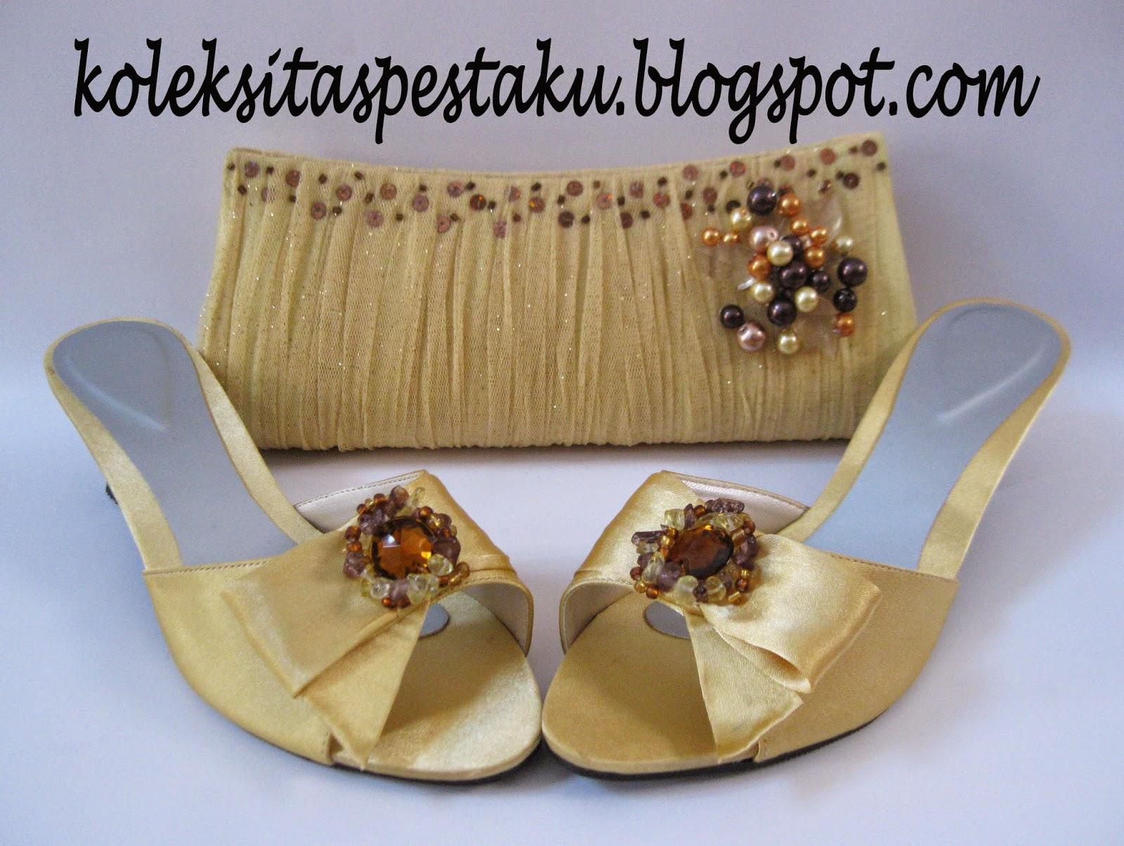Gold Cantik Tile Ber Glitter Tas Pesta