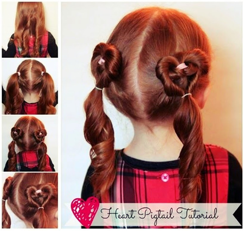Heart Pigtails Hairstyle Tutorial