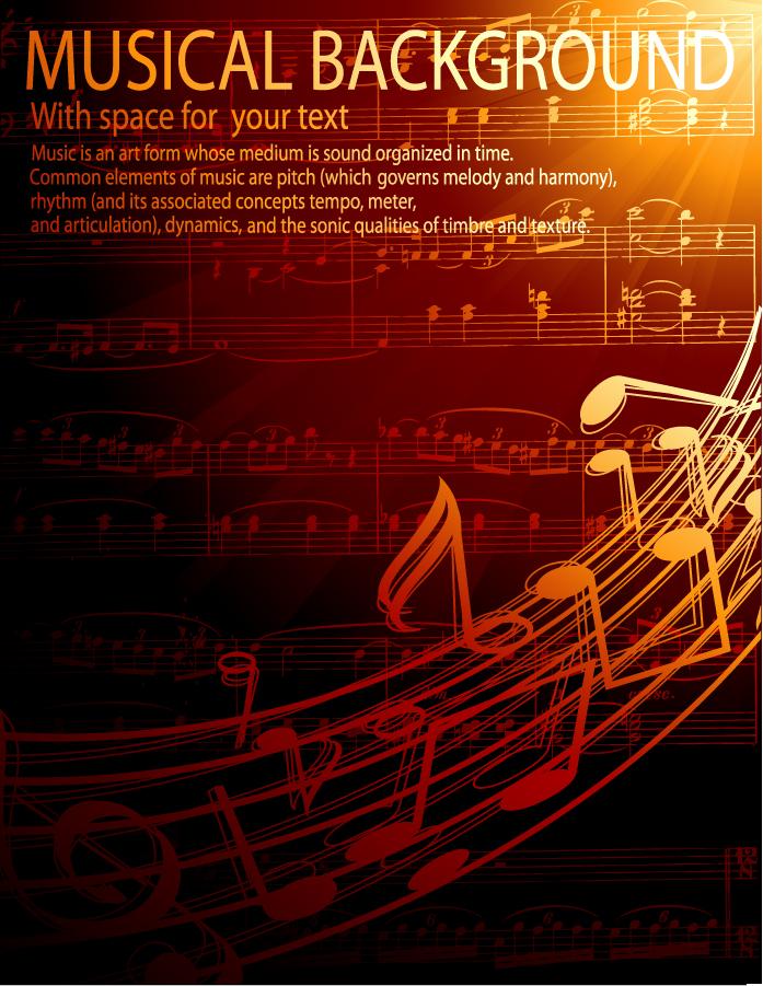 ゴージャスな金色楽譜の背景 gorgeous classical music background イラスト素材
