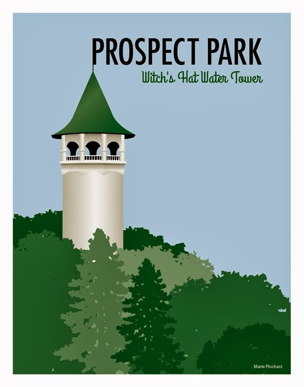 Witch's Hat Water Tower Prospect Park Minneapolis Minnesota - MN Roadside Attraction Travel Poster