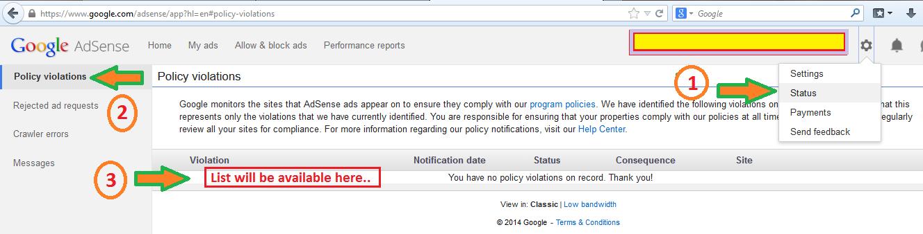 Google AdSense Policy Violation Information