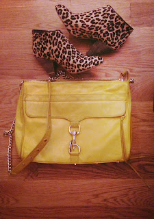 Rebecca Minkoff yellow MAC, Rebecca Minkoff yellow purse, yellow shoulder bag, Minkoff MAC shoulder bag, MAC Daddy, Rebecca Minkoff MAC Daddy, MAC Daddy yellow, large shoulder bag, bright bag, yellow purse, pony hair shoes, Kimchi Blue leopard booties, pony hair booties, leopard booties, Kimchi Blue heels, NYC accessories, bright color and leopard, yellow and leopard