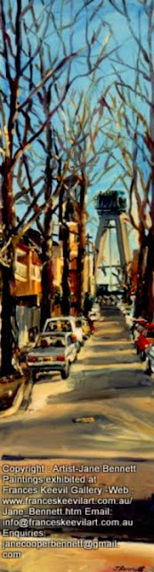 "oil painting of Anzac Bridge from Pyrmont ""Pyrmont streetscape : Anzac Bridge from the corner of John, Pyrmont and Point streets"" 1994 oil painting on board 91x 31cm by  Jane Bennett,Artist"