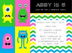 Little Monster Party Invitation - Pink