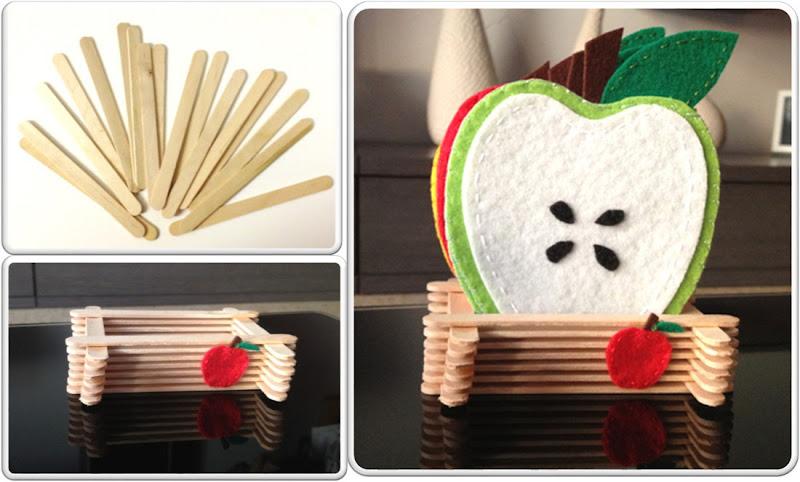 soporte para posavasos de fieltro con forma de manzana