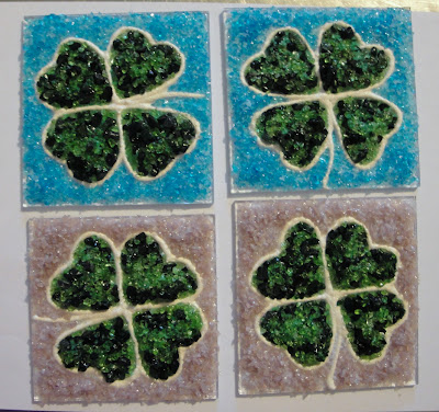 Mica Liquid Glass Four 4 Leaf Clover Fused Frit Tile Full Fuse