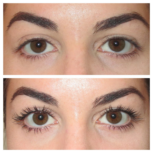 a picture of Rimmel Wonder'Lash Lift Me Up Mascara (before & after results on lashes)