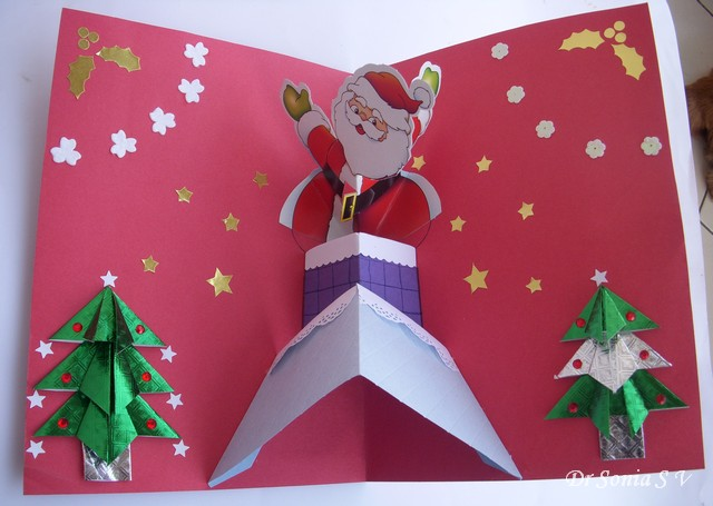 Cards crafts kids projects pop up card making tip for Santa cards pinterest