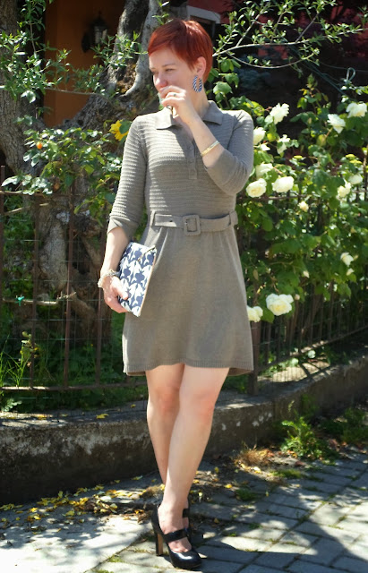 Military green shirt dress, shark clutch || Sharks, Khaki Knit & Allergies on Mother's Day - Funky Jungle, fashion & personal style blog