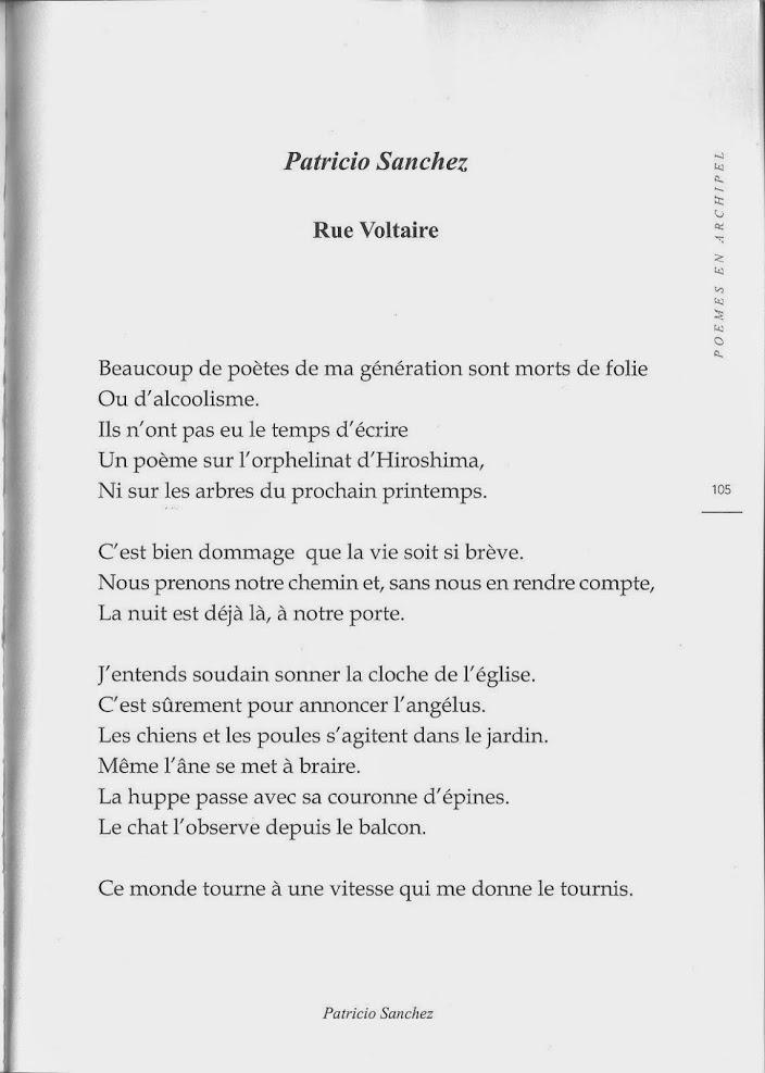 Rue Voltaire, Patricio Sanchez (Revue Souffles Vol. 75, France, décembre 2014).-