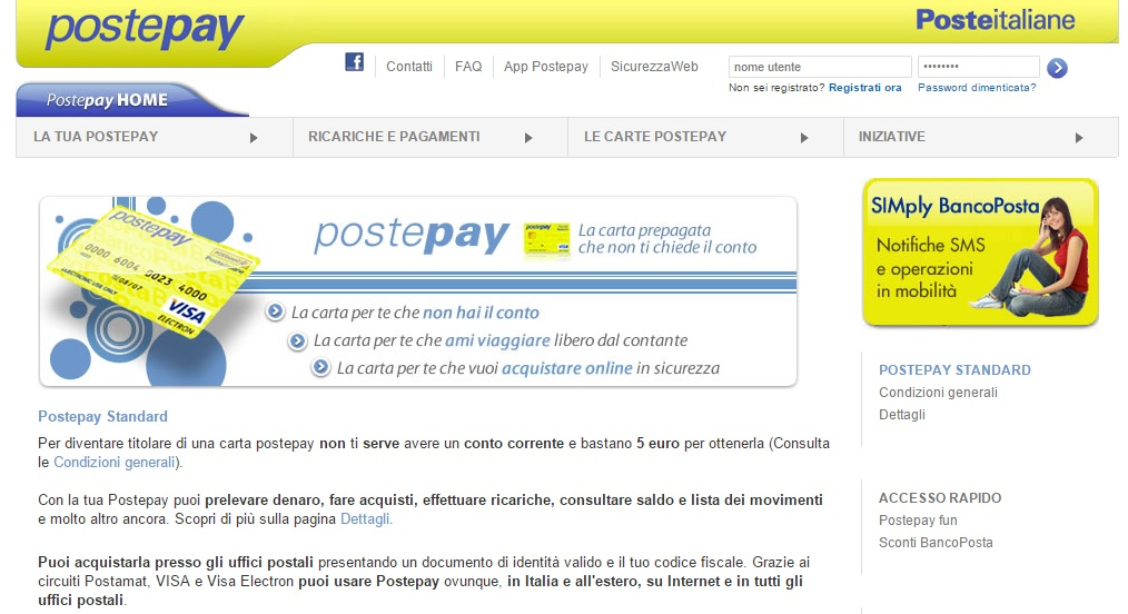 Trading on line con postepay
