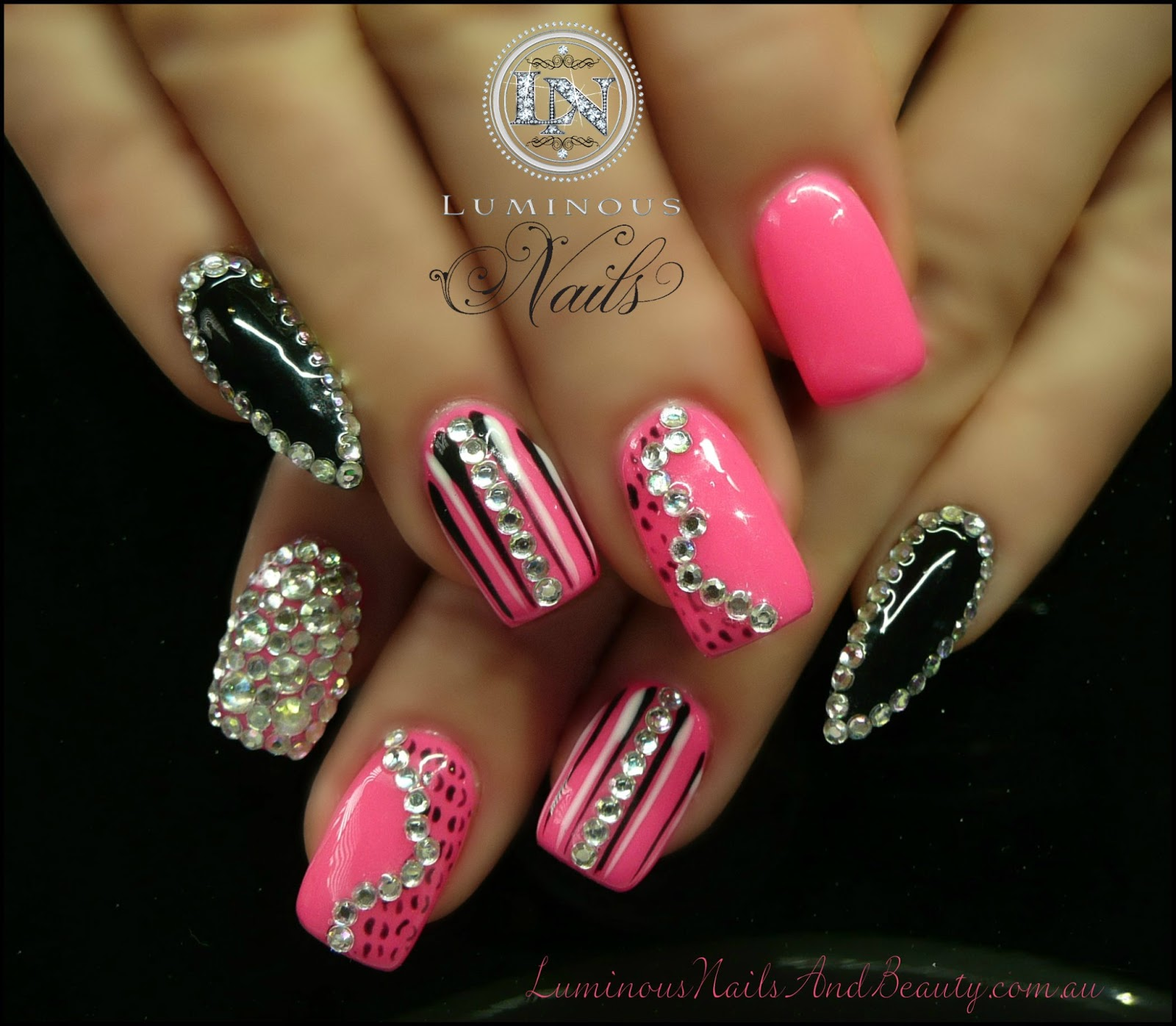 hot pink nails with diamonds-#40