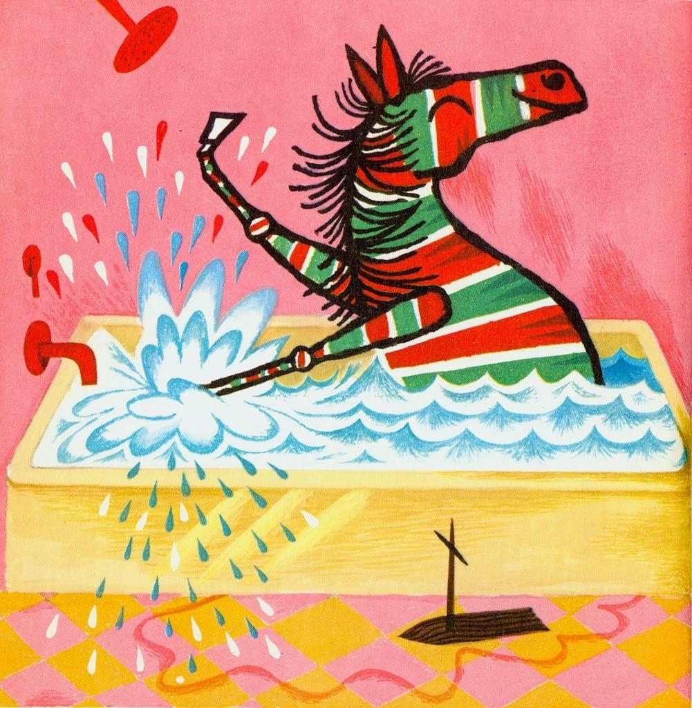 colored zebra having fun in the bathtub ilustration by Tom Vroman