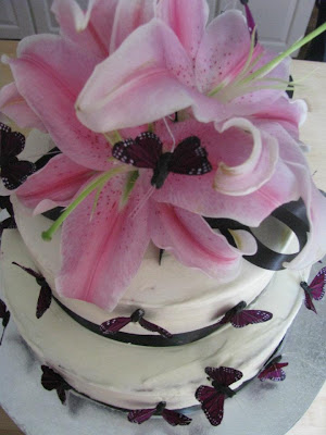 Lilies and Butterflies cake