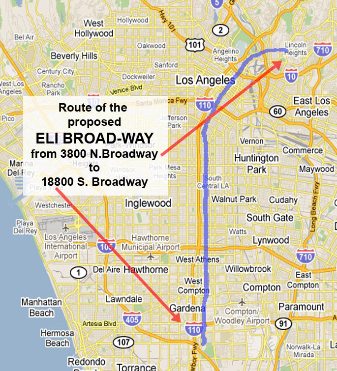 Map of proposed tribute to billionaire Eli Broad - rename Broadway in Los Angeles as Eli Broadway