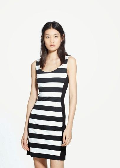 Mango 2015 Elbise Modelleri  çizgili siyah beyaz gece elbisesi, kısa elbise modeli