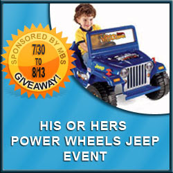 His or Hers Jeep Power Wheels Giveaway - Ends 8/13