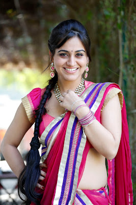 Cute aksha in pink saree