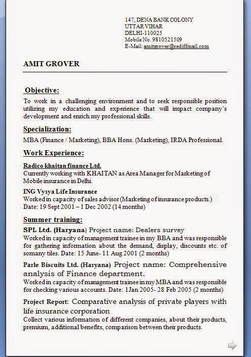 Download Resume Format