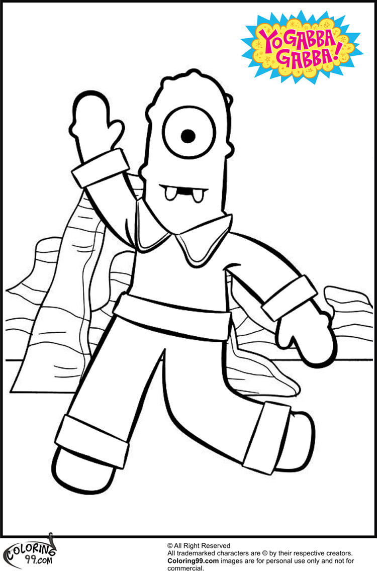 yo gabba gabba muno coloring pages team colors