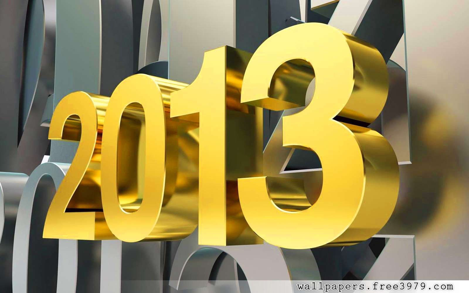 2013 Happy New Year 3D Gold Numbers