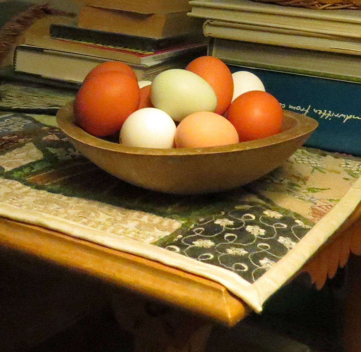 eggs in a wooden bowl