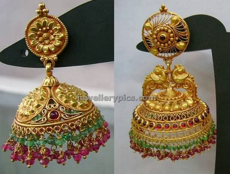 gold earrings buttalu jumkas by varakrupa jewellers