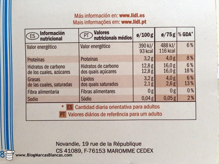 Información nutricional del yogur natural con azúcar de caña (3,5% grasa) MILBONA de Lidl.