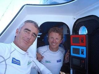 Jean-Pierre Dick et Loick Peyron, vainqueurs de la dernière édition de la Barcelona World Race.