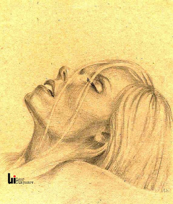 portrait of a blond woman by illustrator and artist Igor Lukyanov